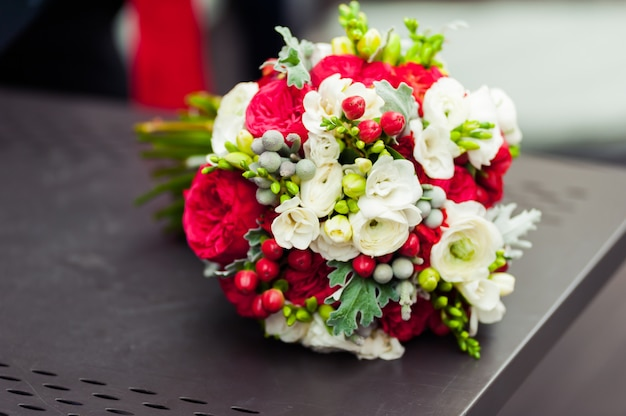 Wedding bouquet before ceremony in church Premium Photo