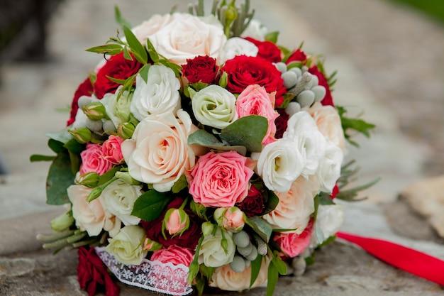 웨딩 부케, 꽃, 장미, 아름다운 꽃다발 프리미엄 사진