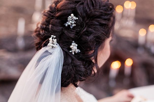 Wedding bride's hair tied up. Free Photo
