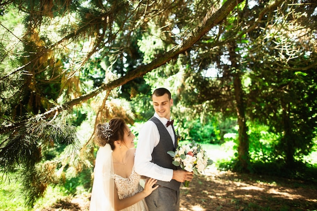 A wedding couple enjoys walking in the woods. newlyweds hug and hold hands Premium Photo