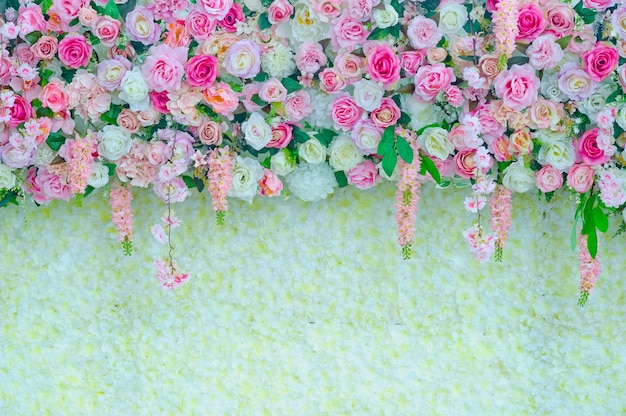 Premium Photo Wedding Flower Decoration Flower Backdrop Background