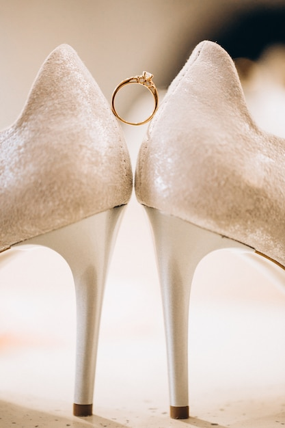 Wedding foot wear close up Free Photo