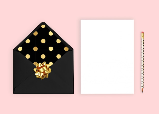 Wedding invitation with card. Premium Photo