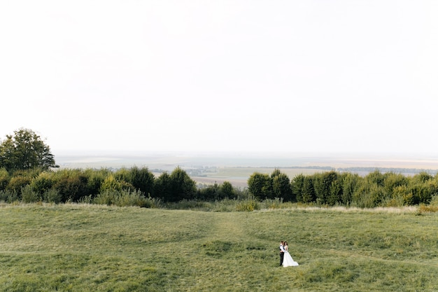 Wedding in mountains, a couple in love Free Photo