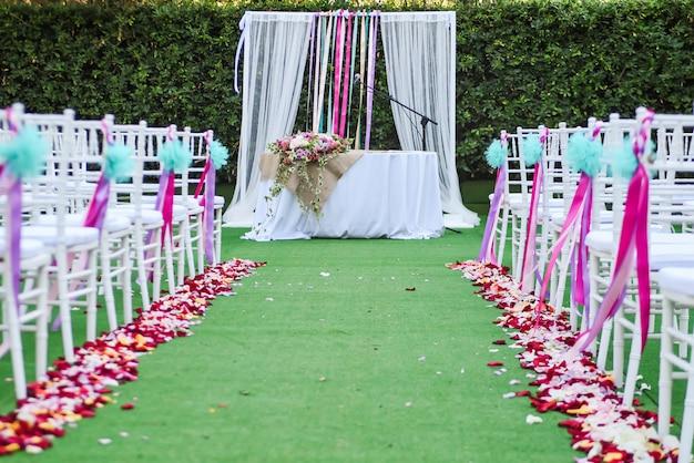 Wedding outdoor ceremony decoration Premium Photo