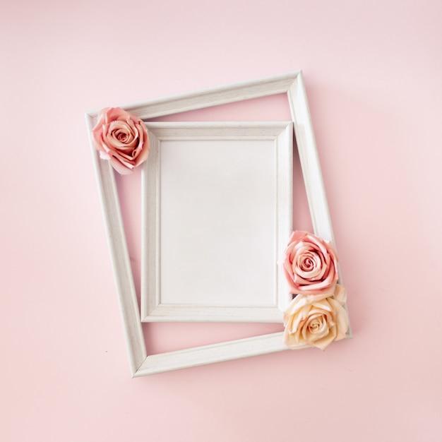 Wedding photo frame with roses Free Photo