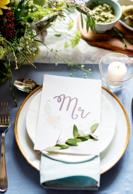 Wedding reception table setting closeup Photo Free Download