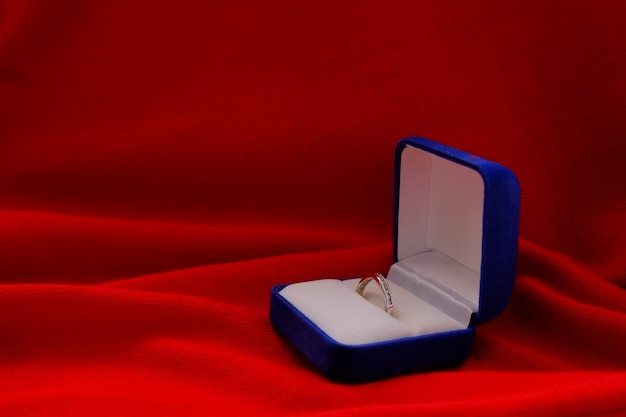 Wedding Ring Jewelry On Red Cloth Background Photo Premium Download