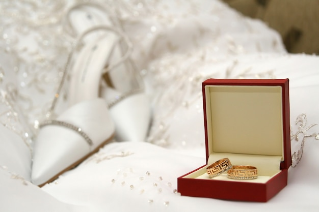 Wedding of a ring of a shoe Premium Photo