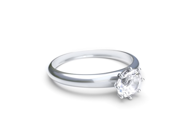 Wedding Ring On White Background 3d Rendering Photo