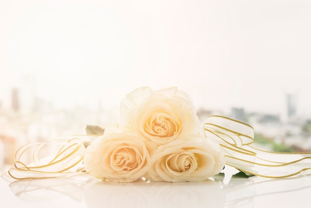 Wedding still life with roses Free Photo