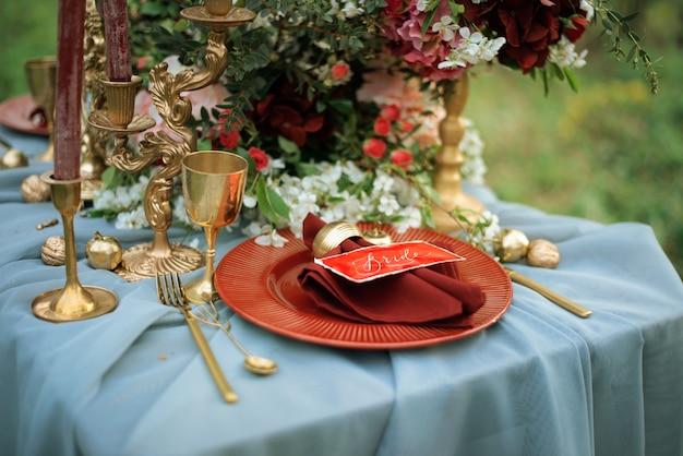 結婚式のテーブルデコレーション。上面図。 Premium写真