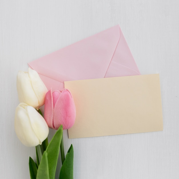 Weeding greeting card with tulips on white background Free Photo