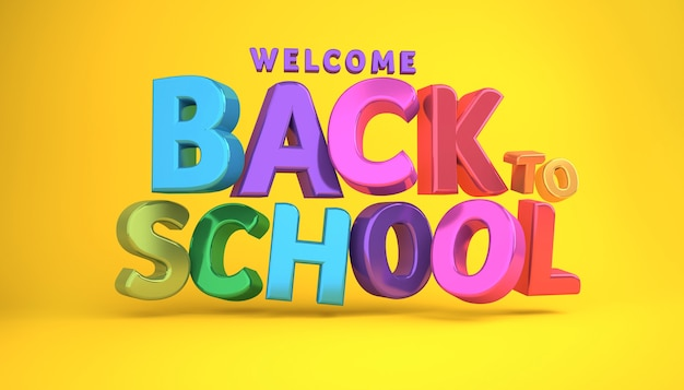Welcome back to school banner colorful banner 3d rendering. Premium Photo