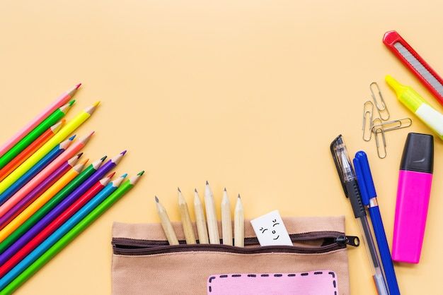 Welcome back to school color pencil and stationery bag Premium Photo