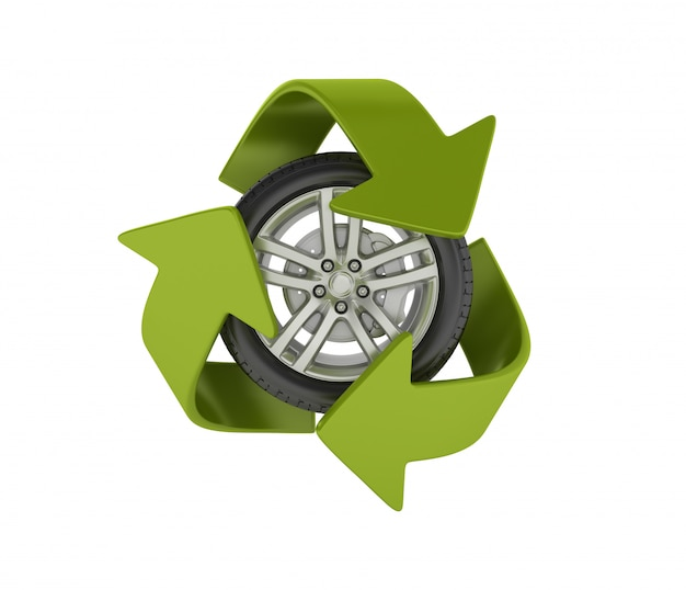 Wheel with recycling symbol Premium Photo