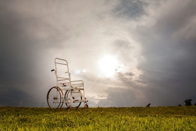 Wheelchair in the meadow Free Photo