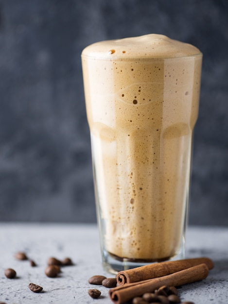 Whipped instant coffee sweet and delicious dessert in a glass glass Premium Photo