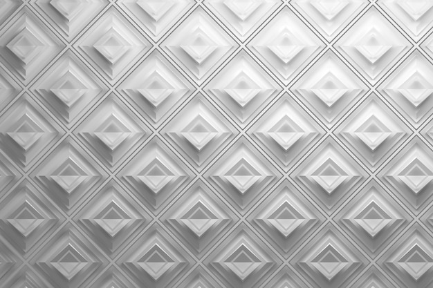 White 3d pattern with rhombuses Premium Photo