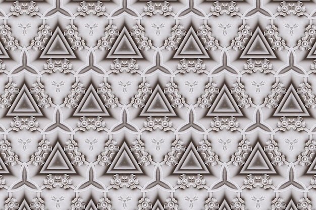 White abstract background pattern textured, lines and symmetrical shapes Premium Photo
