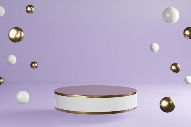 흰색과 황금색 실린더 제품은 자주색, 받침대 연단 디스플레이, 3d 렌더링에 장식으로 서 있습니다. 프리미엄 사진