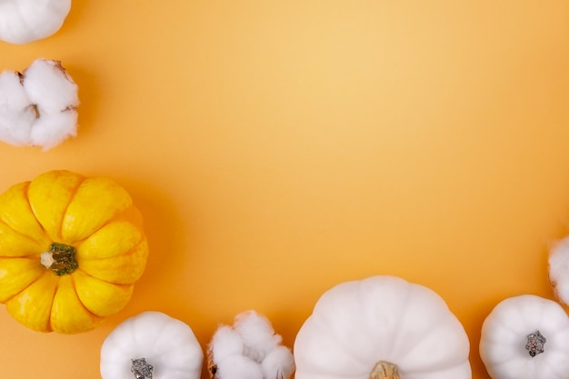 綿の花と白とオレンジの家宝のカボチャ Premium写真