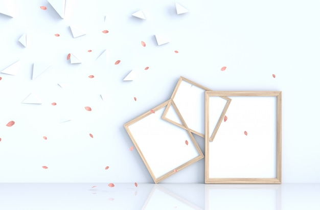 White background decor with picture frame and blow pink leaves. Premium Photo