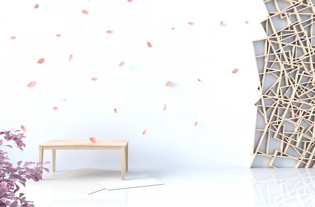White background decor with wood shelves wall Premium Photo
