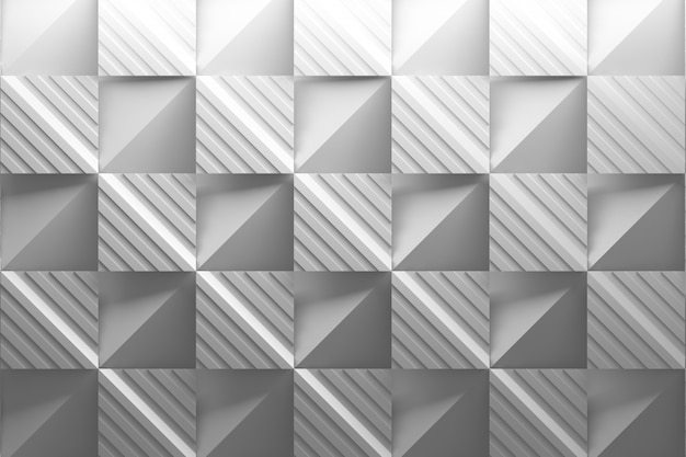 White background mosaic with square folded striped tiles Premium Photo