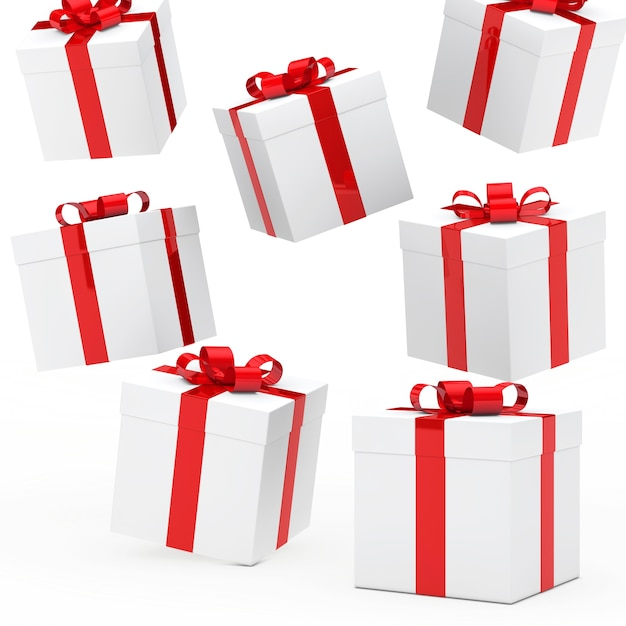 White background with gift boxes Free Photo
