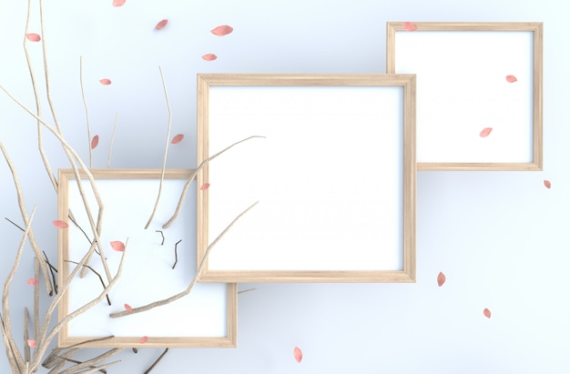 White background with picture frame and blow pink leaves, branch. Premium Photo