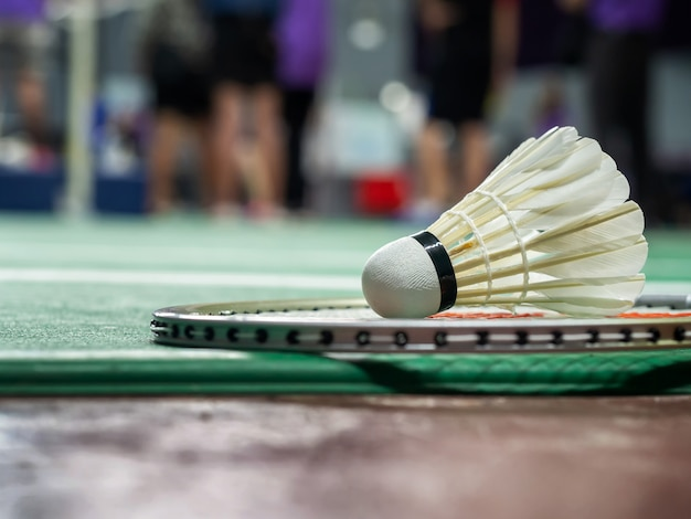 White badminton shuttlecock and racquet on a green court. Premium Photo