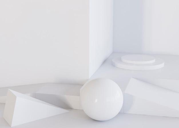 Sfera bianca e sfondo di forme geometriche Foto Gratuite