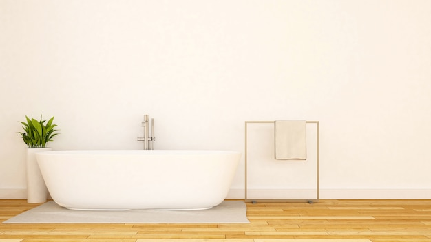 White bathroom minimal design Premium Photo