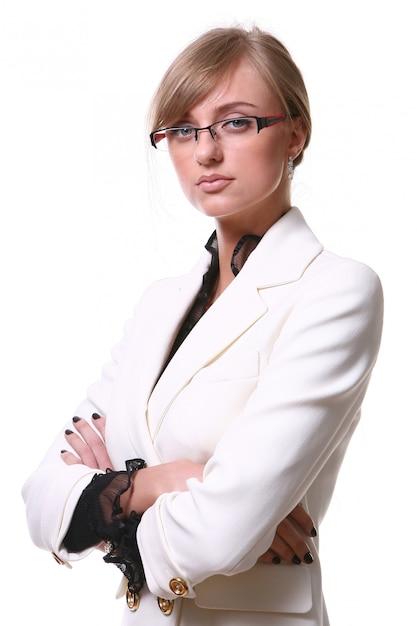 White beautiful blond business woman Free Photo