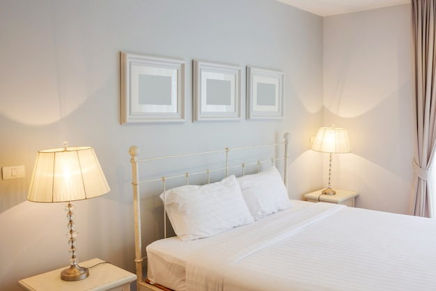 White Bed Room Premium Photo