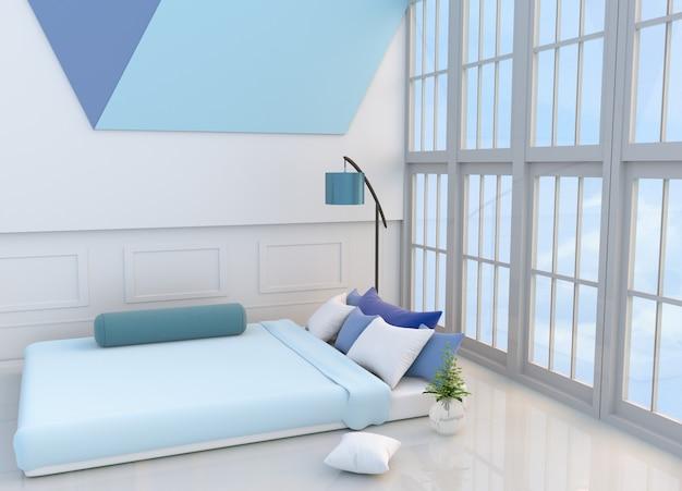 White bedroom decor light blue bed, pillows, window, blue ...