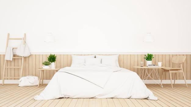 White bedroom or guestroom of hotel minimal design - 3d rendering Premium Photo