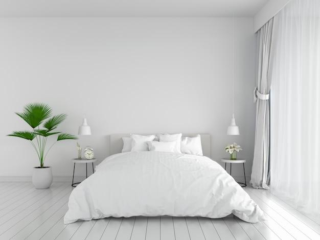 Белый интерьер спальни для макета, 3d-рендеринга Premium Фотографии