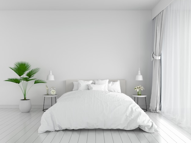 Premium Photo White Bedroom Interior For Mockup 3d Rendering