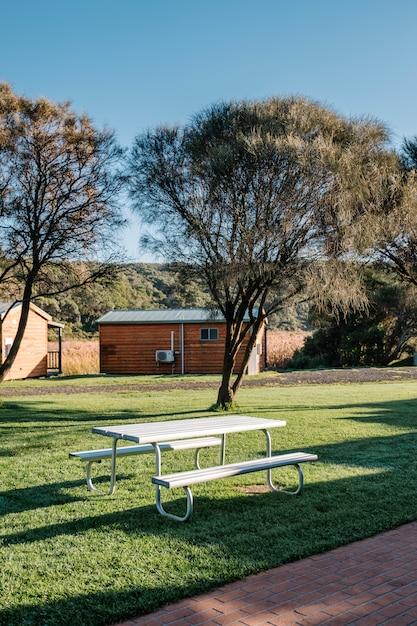 White bench in garden Free Photo