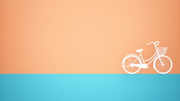 White bicycle on blue floor and orange wall background Premium Photo