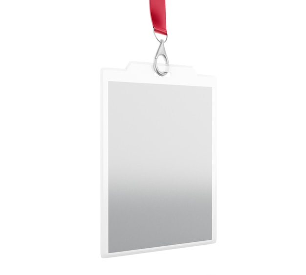 White blank id badge with place for photo and text Premium Photo