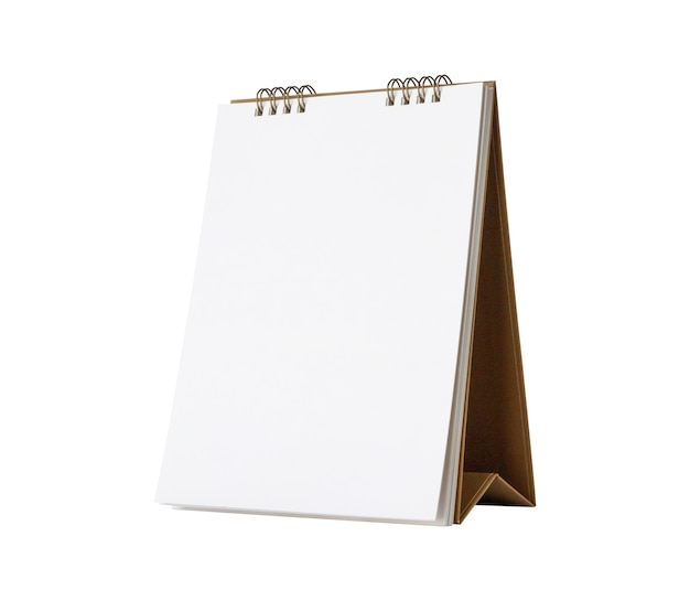 White blank paper desk calendar mockup isolated on white background with clipping path Premium Photo