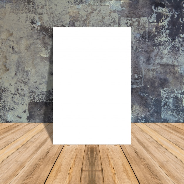 White Blank Poster in concrete wall and tropical wooden floor room,Template Mock up for your content. Free Photo