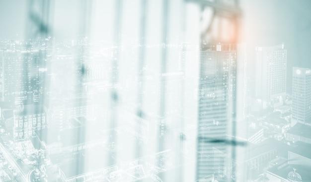 White blur abstract background blur of modern building interior Premium Photo