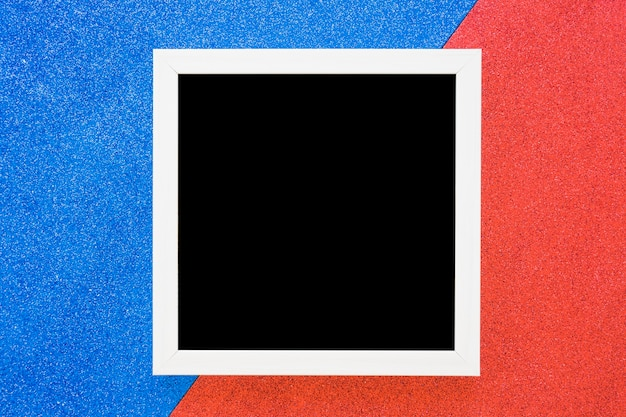 White border frame on dual blue and red background Free Photo