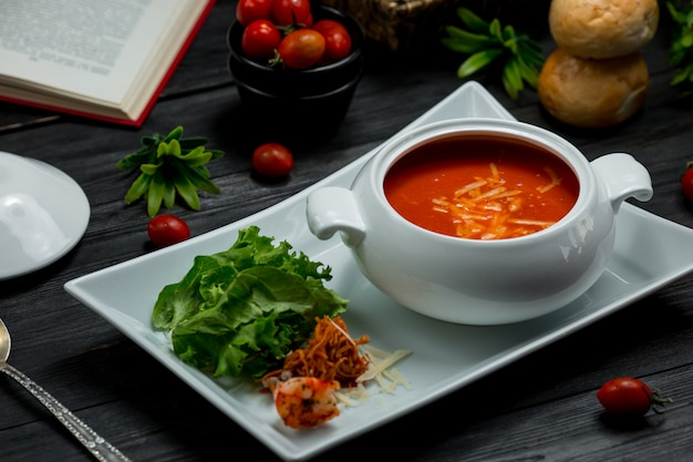 A white bowl of tomato soup with chopped parmesan and green salad. Free Photo