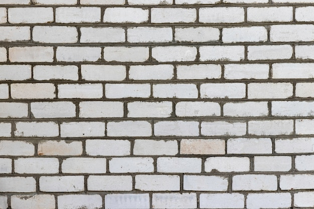 White brick vintage wall for background or texture Premium Photo