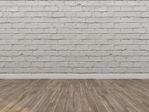White Brick Wall And Dark Brown Wooden Floor Photo Premium Download